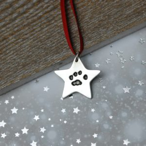 Sterling silver star decoration with your pet's unique paw print