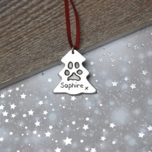 Sterling silver Christmas tree decoration with your pet's unique paw print