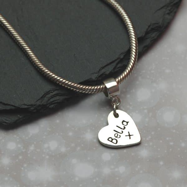 "Inscription on the back silver paw print ""Pandora style"" charm"