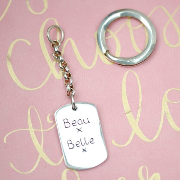 Inscription on the back of a large paw print keyring