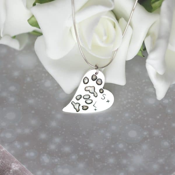 Large silver curved heart with your pet's unique paw prints and names