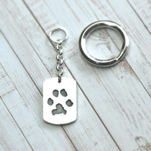 Large sterling silver keyring with your pets uniique paw prints