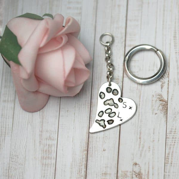 Large sterling silver curved heart keyring with your pets uniique paw prints