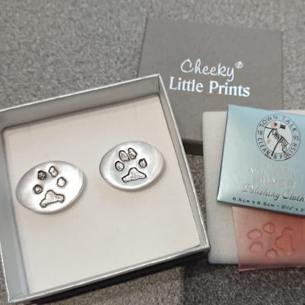 Oval sterling silver paw print cufflinks