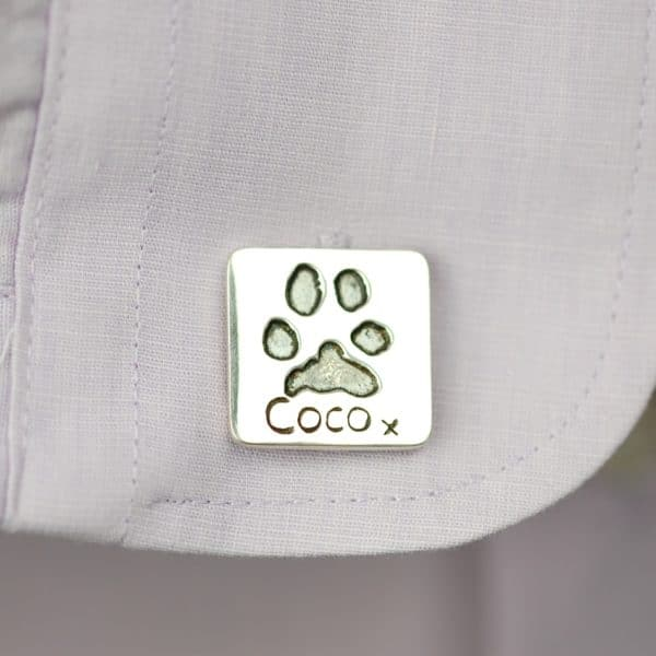 Silver square paw print cufflinks with name and date personalisation