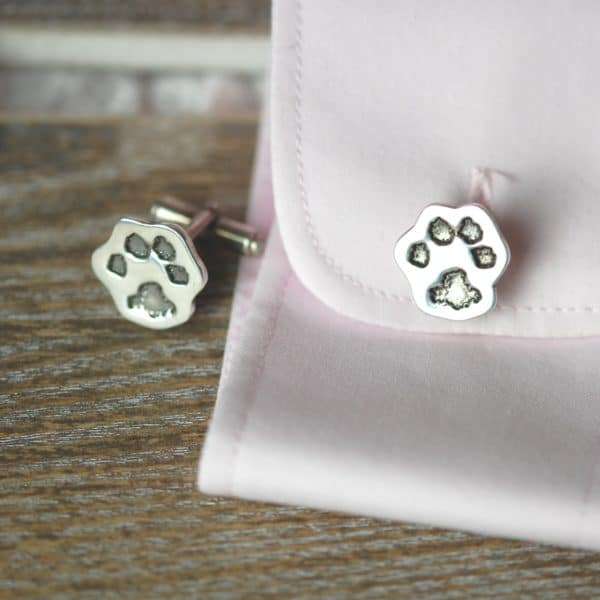 Sterling silver cut out paw print cufflinks