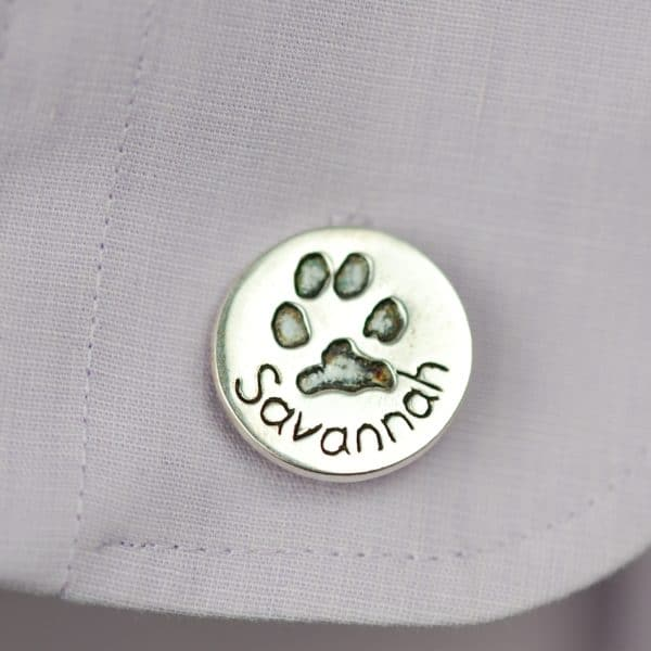 Sterling silver circle cufflinks with your pet's paw print and name