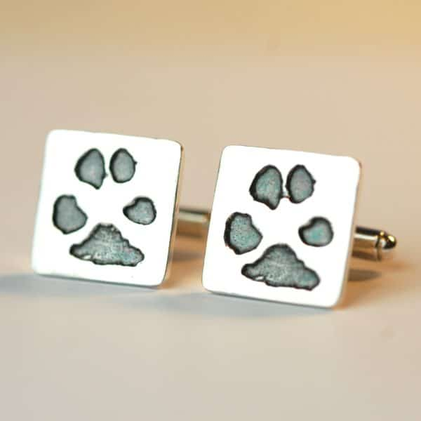Sterling silver cufflnks with your pet's unique paw prints