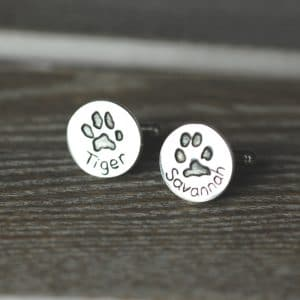 Sterling silver cufflinks showcasing your pet's paw prints and names