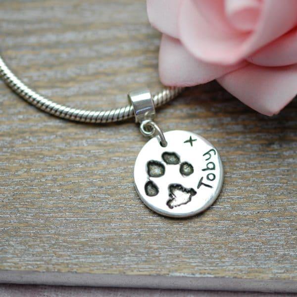 """Silver paw print """"Pandora style"""" charm"""