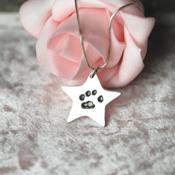 Silver star showcasing your pet's unique paw print
