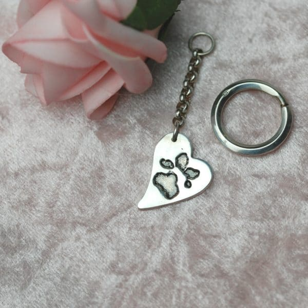 Silver curved heart keyring with your animal's paw print