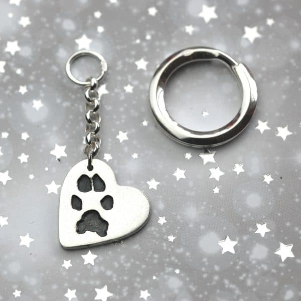Silver heart keyring with your own dog's paw print