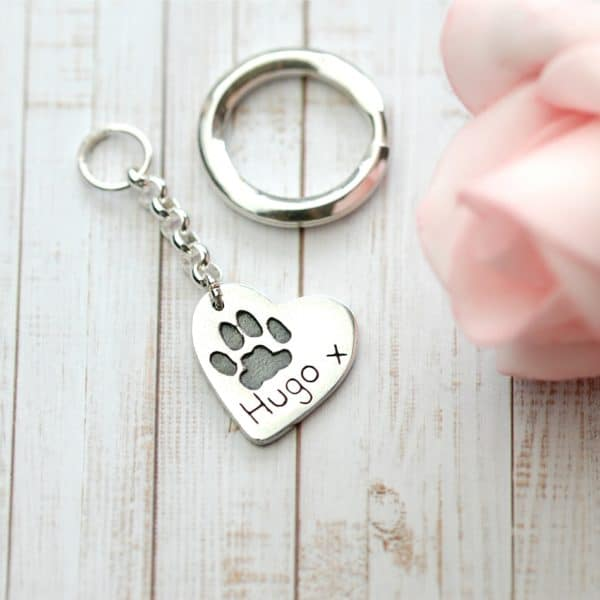Sterling silver heart keyring with your pet's paw print and name