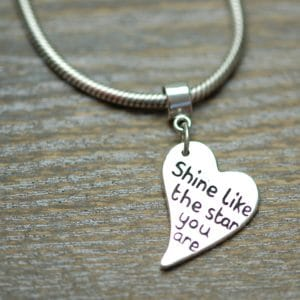"Regular silver message charm with ""Pandora style"" charm carrier"