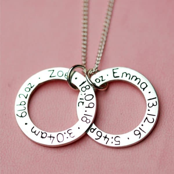 Sterling silver circle charms with baby birth details