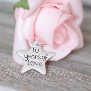 Sterling silver personalised anniversary charm