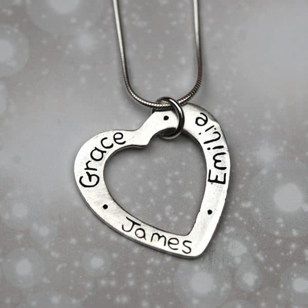 Sterling silver heart charm personalised with names