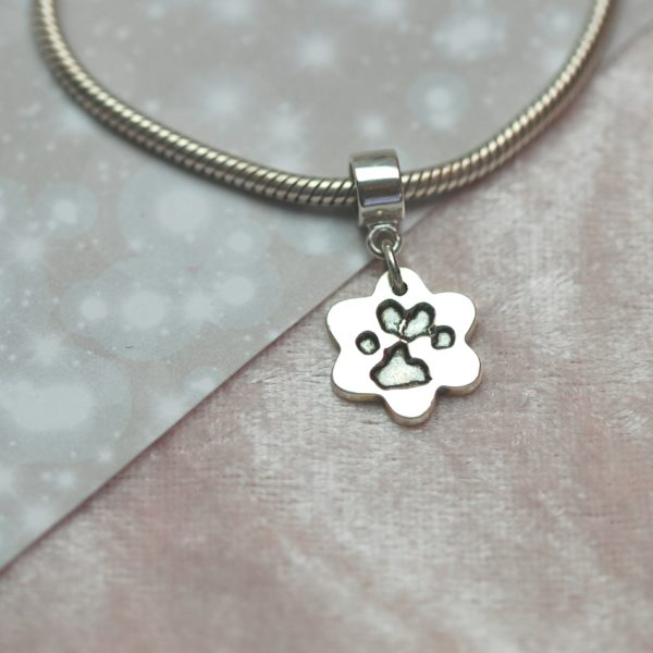 Small silver flower paw print charm with charm carrier