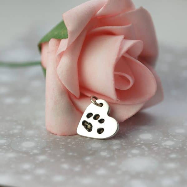 Small sterling silver heart with your pet's unique paw print and name