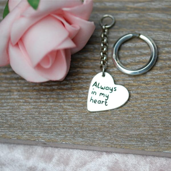 Sterling silver personalised message keyring