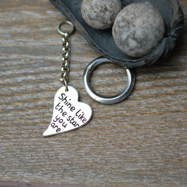 Sterling silver curved heart personalised message keyring