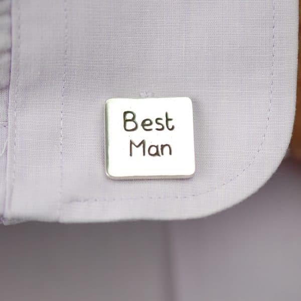 Sterling silver personalised Best Man cufflinks