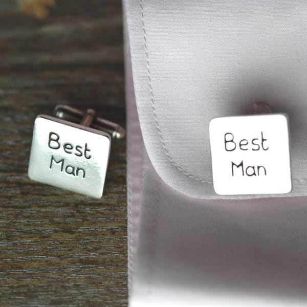 Sterling silver personalised square Best Man cufflinks