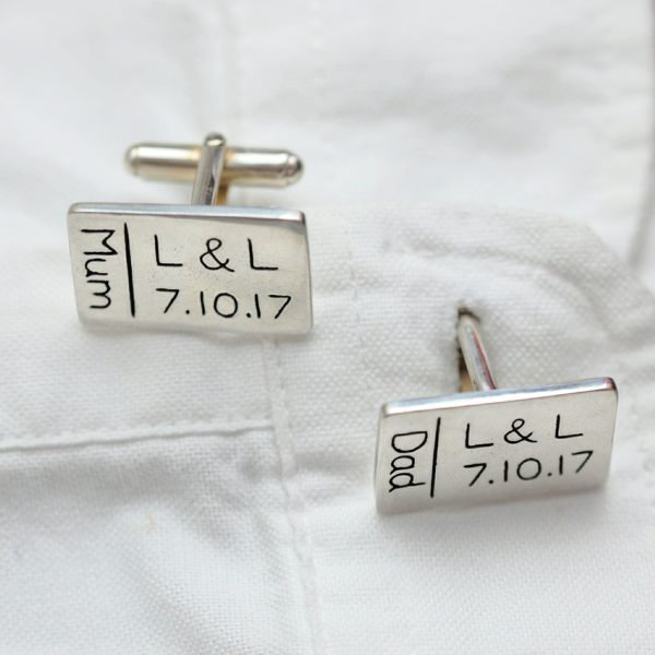 Say it in silver personalised cufflinks