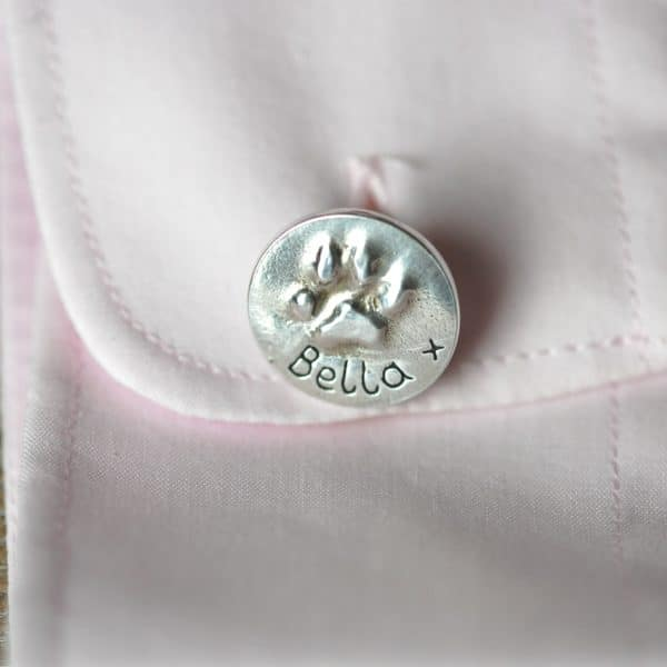 Sterling silver cufflinks with your pet's unique paw prints