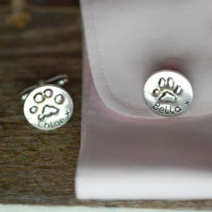 Silver raised paw print cufflinks