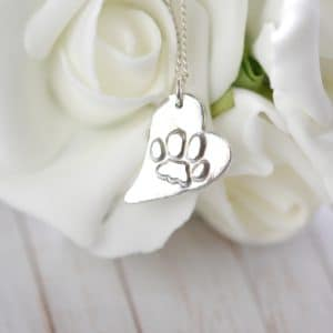 Regular silver raised paw print charm and snake chain