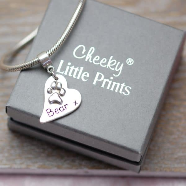 """Silver regular raised paw print charm with """"Pandora style"""" charm carrier"""