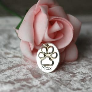 Sterling silver oval charm with your pet's unique paw print