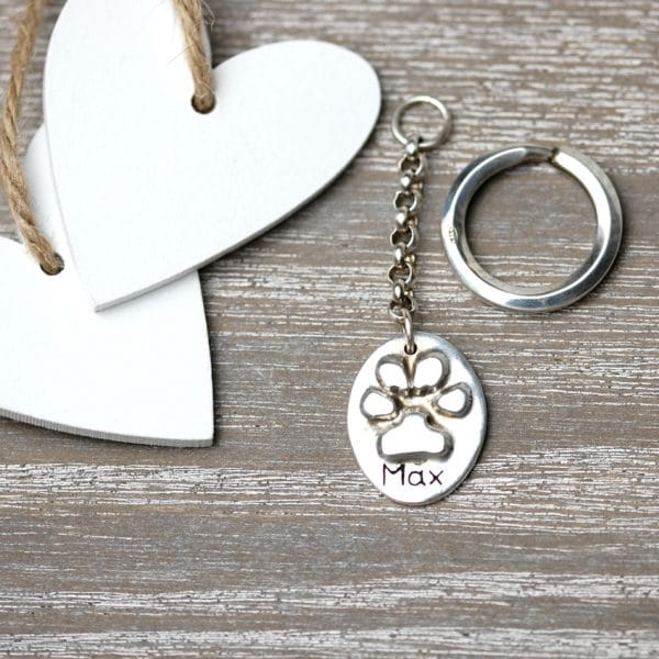 Sterling silver raised paw print keyring