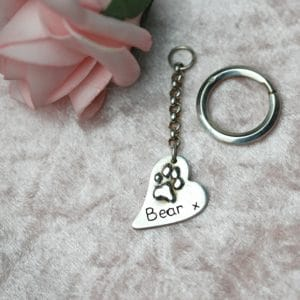 Sterling silver curved heart raised paw print keyring