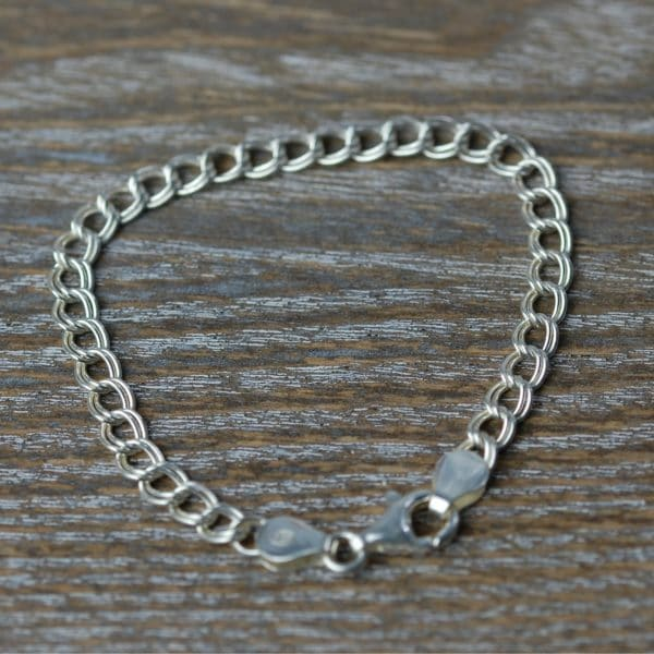 Sterling silver double link curb chain bracelet