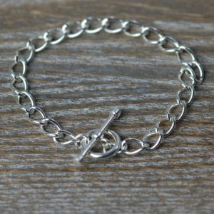 Sterling silver t-bar curb bracelet