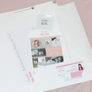 Inside an inkless paw print kit
