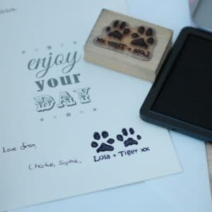 Personalised double paw print stamp with names