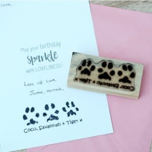 Personalised triple stamp with your pet's unique paw prints and names