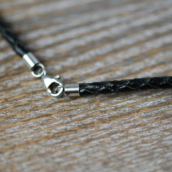 3mm black braided leather cord