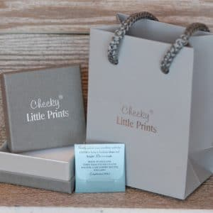Stunning grey and silver jewellery packaging and polishing cloth to help care for your jewellery