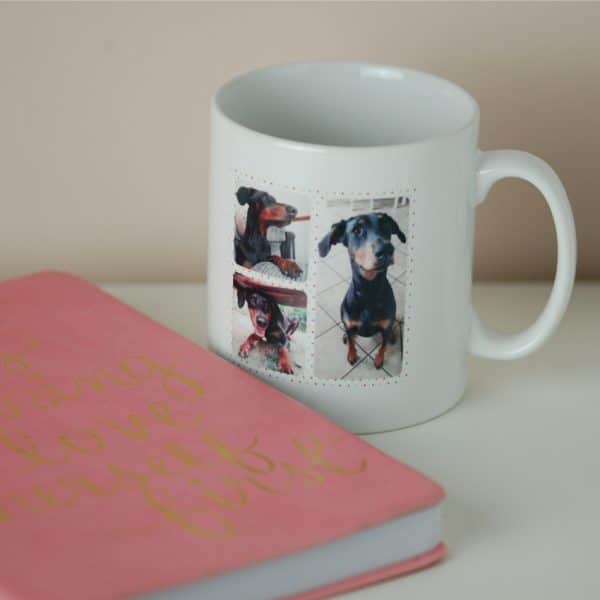 Personalised mug with your pet's own paw print and photo