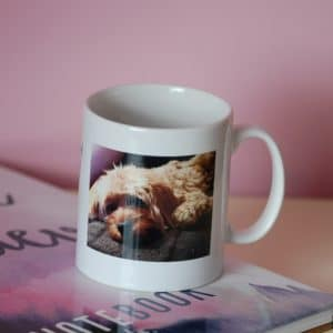 Personalised photo mug with your pet's unique paw print