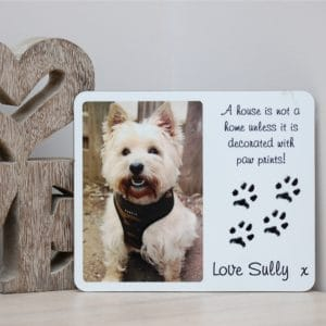 Personalised hardboard plaque with your pet's photo and unique paw prints