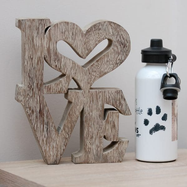 Water bottle personalised with your pet's paw print, photo and message