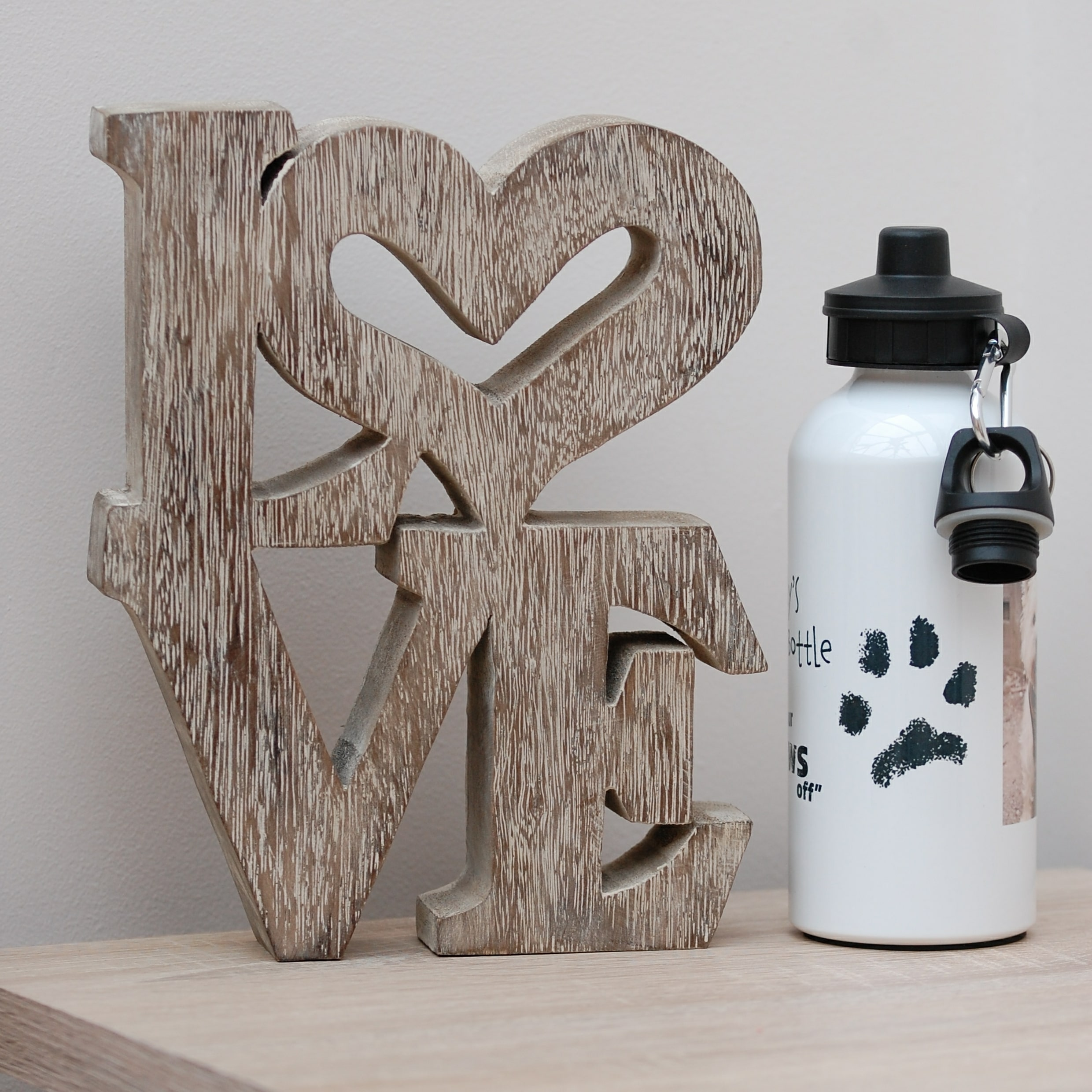 Water bottle personalised with your pet's paw print, photo and message, great for preventing dehydration in dogs