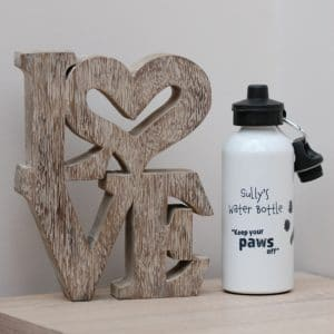 Personalised water bottle with your pet's paw print, photo and message