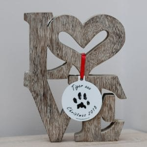 Personalised Christmas bauble with your pet's unique paw print and photo